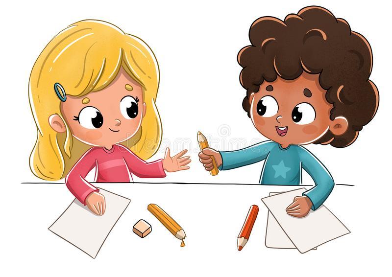 Child Classmates Stock Illustrations.