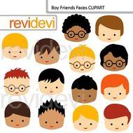 Clip Art Boy Friends Faces (friends, classmates clipart).