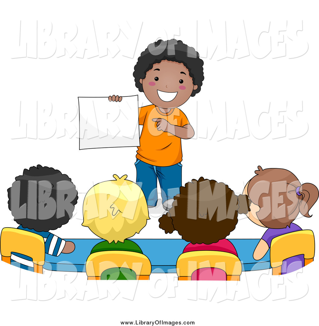 Clip Art of a School Boy Presenting to His Classmates by BNP.