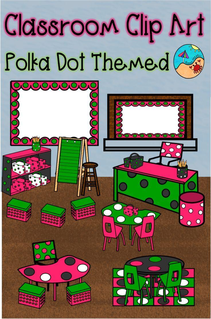 Classroom Clip Art: Polka Dot Themed.