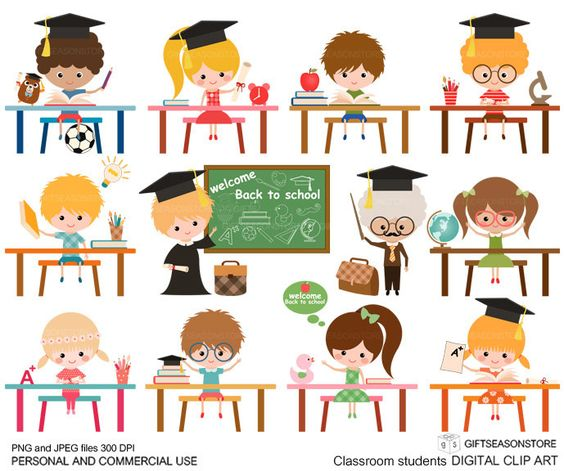Classroom student digital clip art for Personal and Commercial use.