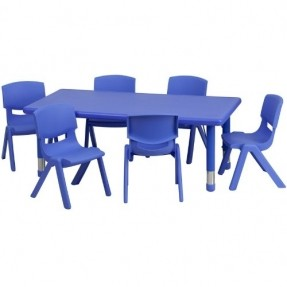 Classroom Brown Rectangle Table With 6 Chairs Clipart.