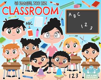 Classroom Clipart, Instant Download Vector Art, Commercial Use Clip Art.