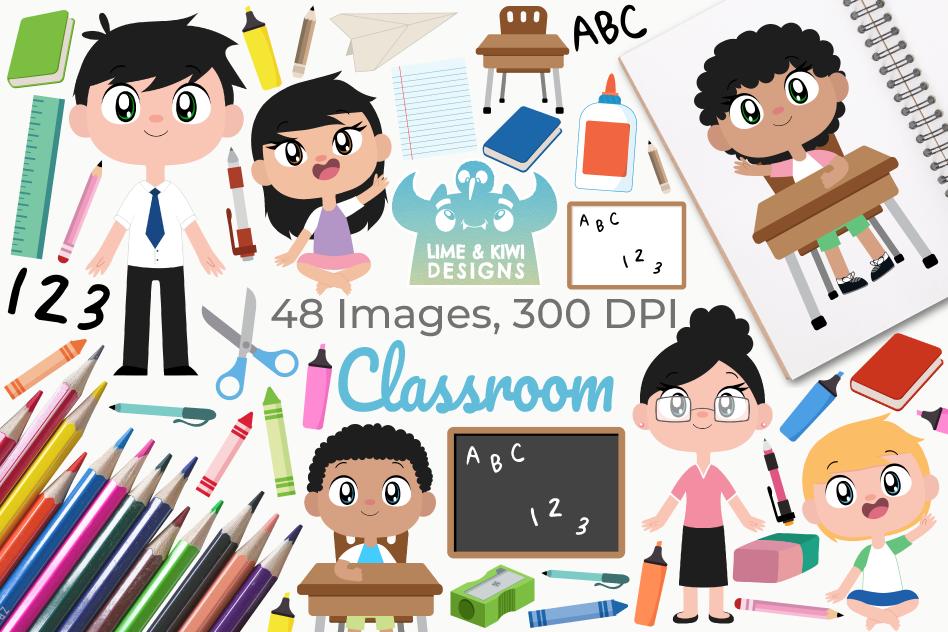 Classroom Clipart, Instant Download Vector Art.