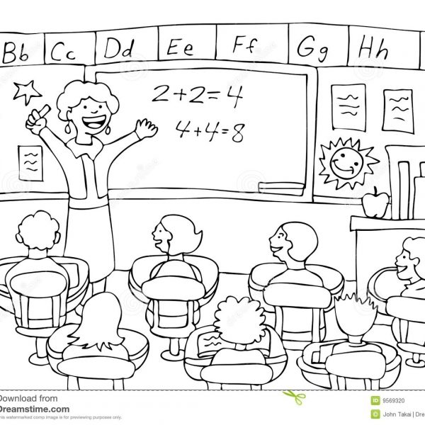 28+ Collection Of Children In Classroom Clipart Black And White with.