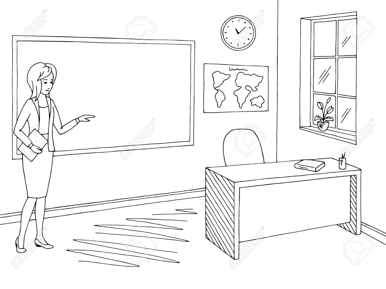 Classroom graphic black white school interior sketch, vector...