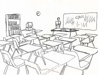 Classroom clipart black and white.