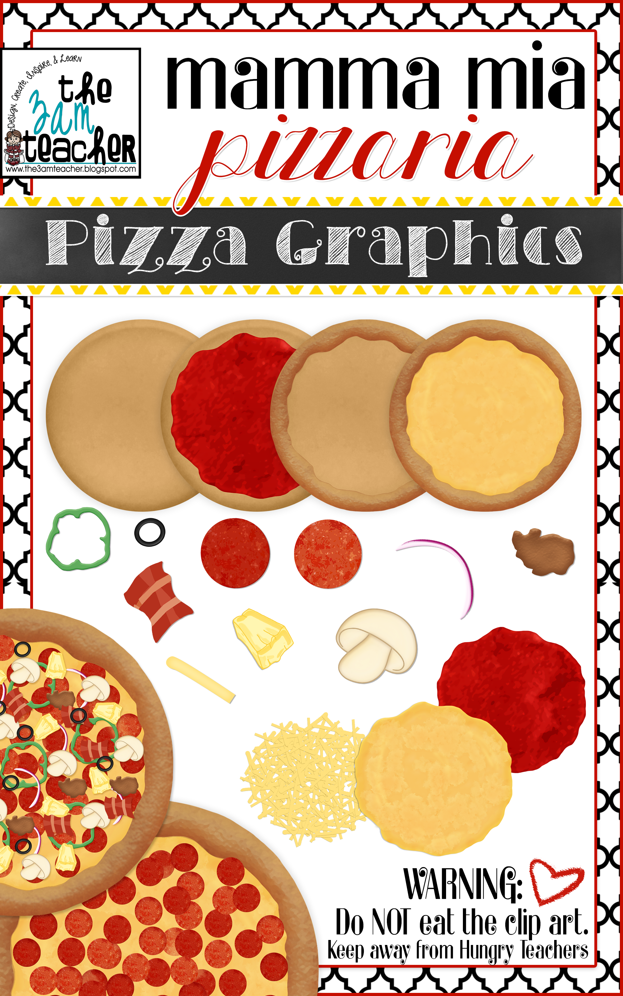 Custom Pizza Graphics / Clipart Collection.