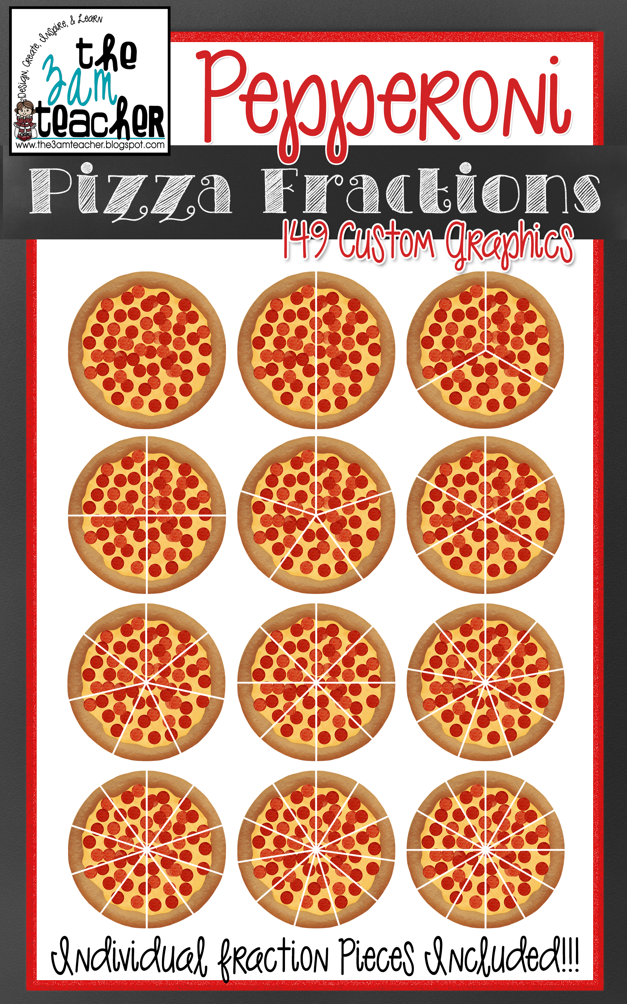 Yummy Pepperoni Pizza Fractions Clip Art Set.