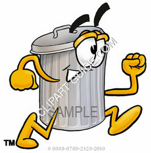 Clipart Cartoon Trash Can Character Running.
