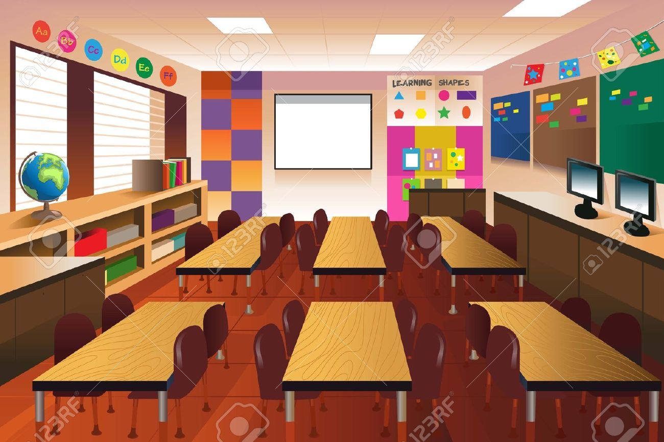 An illustration of empty classroom for elementary school.
