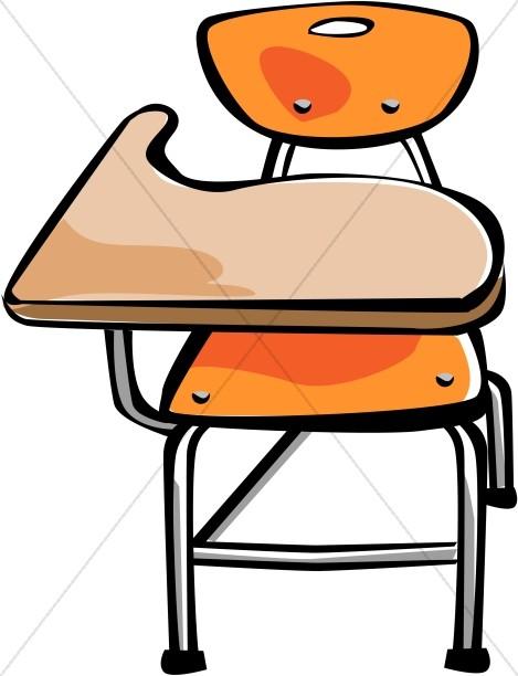 Orange Student Desk.