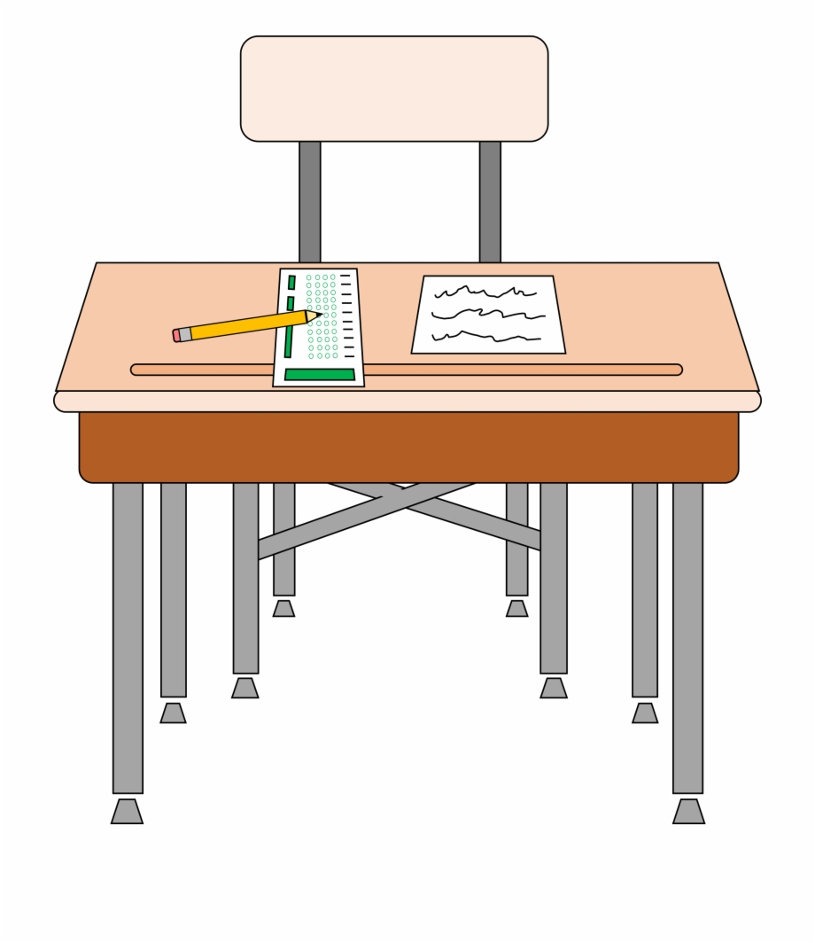 School Table And Chair Clipart 19 Desk Image Black.