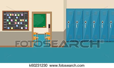 Empty school interior, open door in classroom Clipart.
