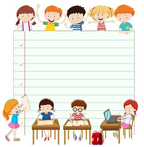 Line paper design with children in classroom.