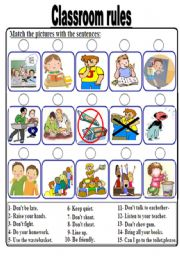 English teaching worksheets: Classroom rules.