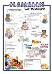 English worksheets: classroom language worksheets, page 2.