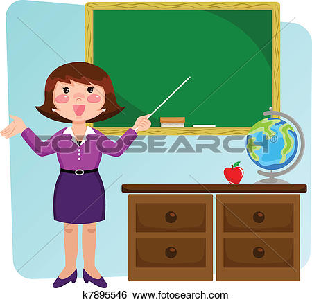 Clipart of Vector classroom with teacher and school children.