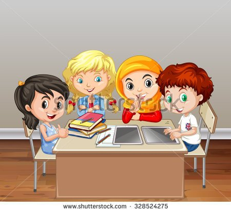 Students Group Work In A Classroom Clipart.