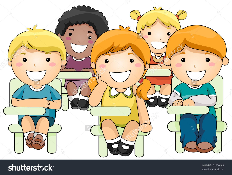 Illustration Small Group Children Inside Classroom Stock Vector.