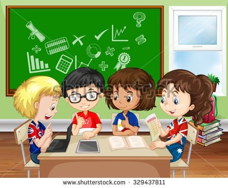 Group Work In Classroom Clipart.