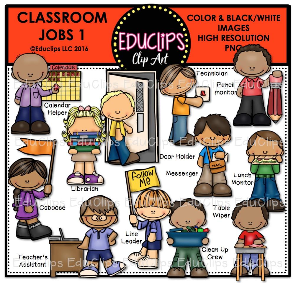 Librarian Classroom Job Clipart.