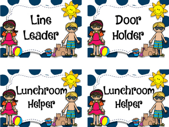 Beach Theme Classroom Helper Cards.