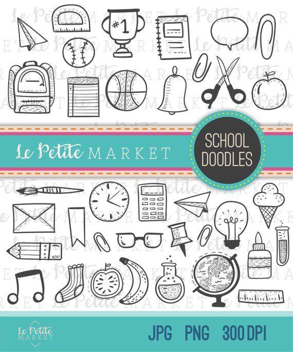 Hand Drawn School Doodles, Back to School Clipart, School Clipart.