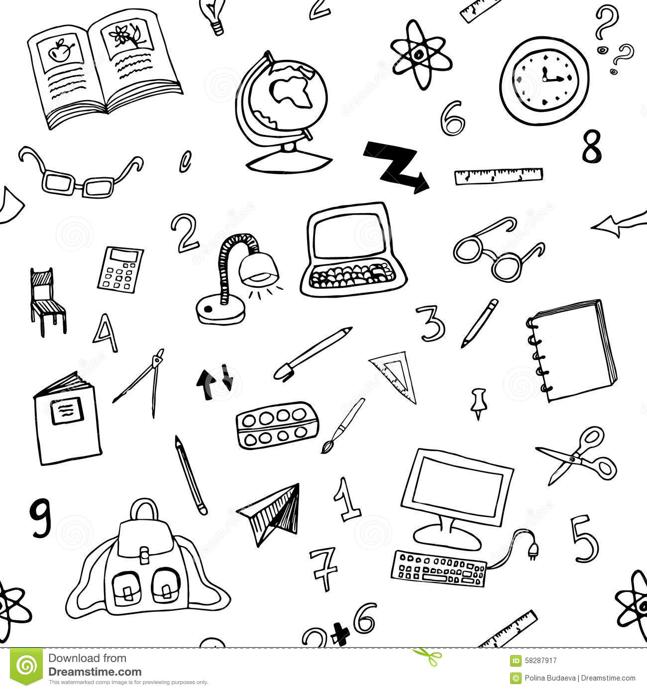 Doodle Seamless Pattern Of Classroom Objects Stock Vector.
