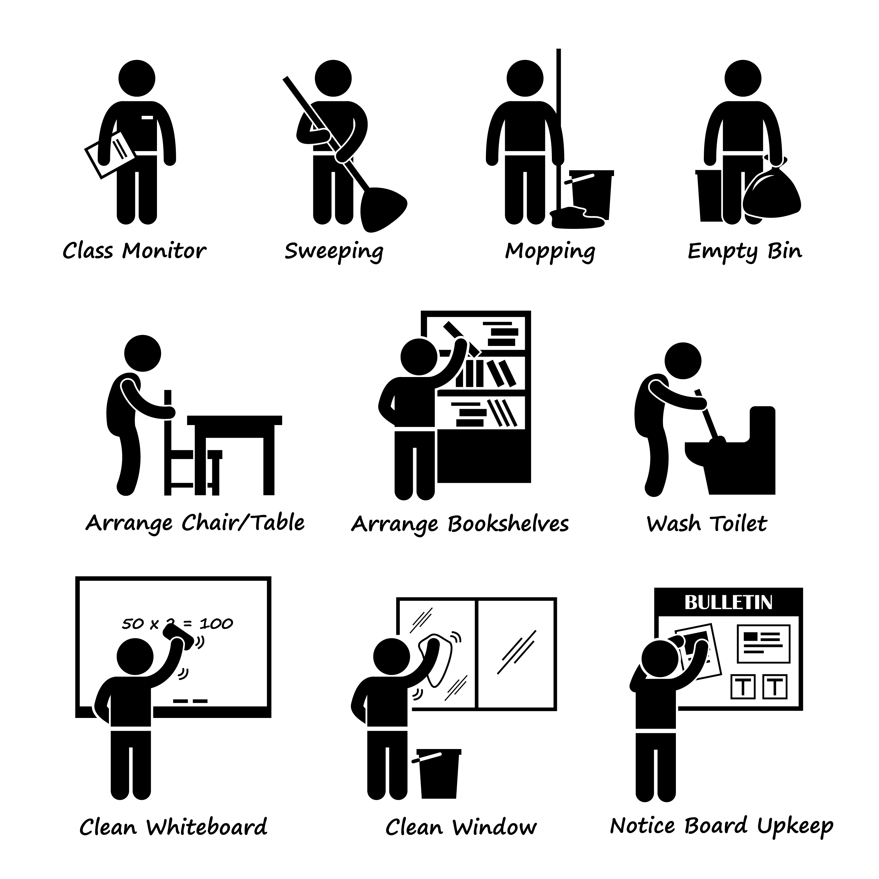 Classroom Student Duty Roster Stick Figure Pictogram Icon Clipart. A.