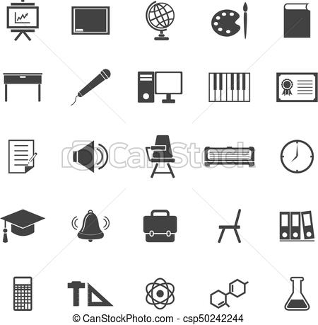 Classroom icons on white background.