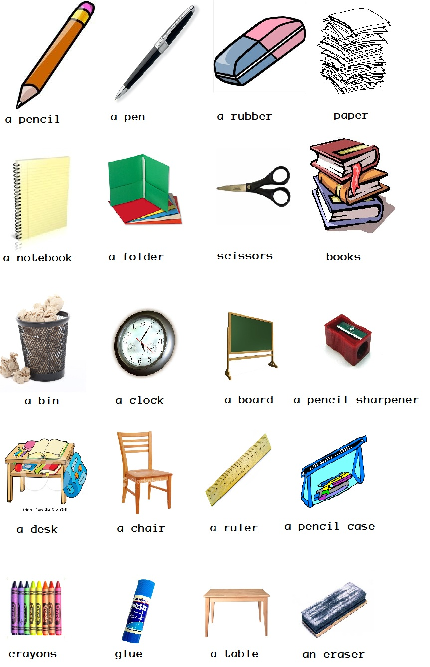 Classroom Object Cliparts.