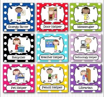 Editable Classroom Jobs Helpers.