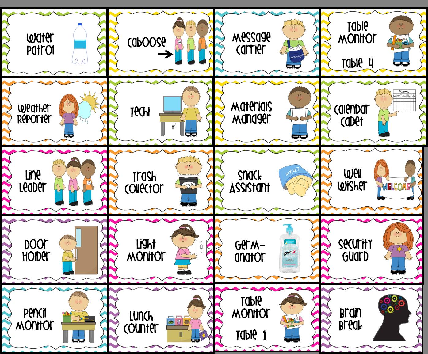 classroom jobs printable.