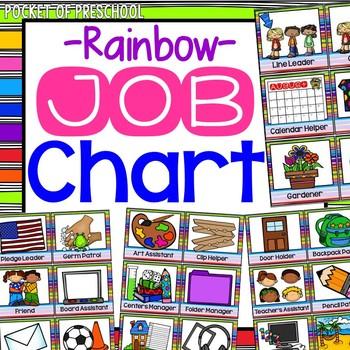 Rainbow Classroom Jobs Chart.