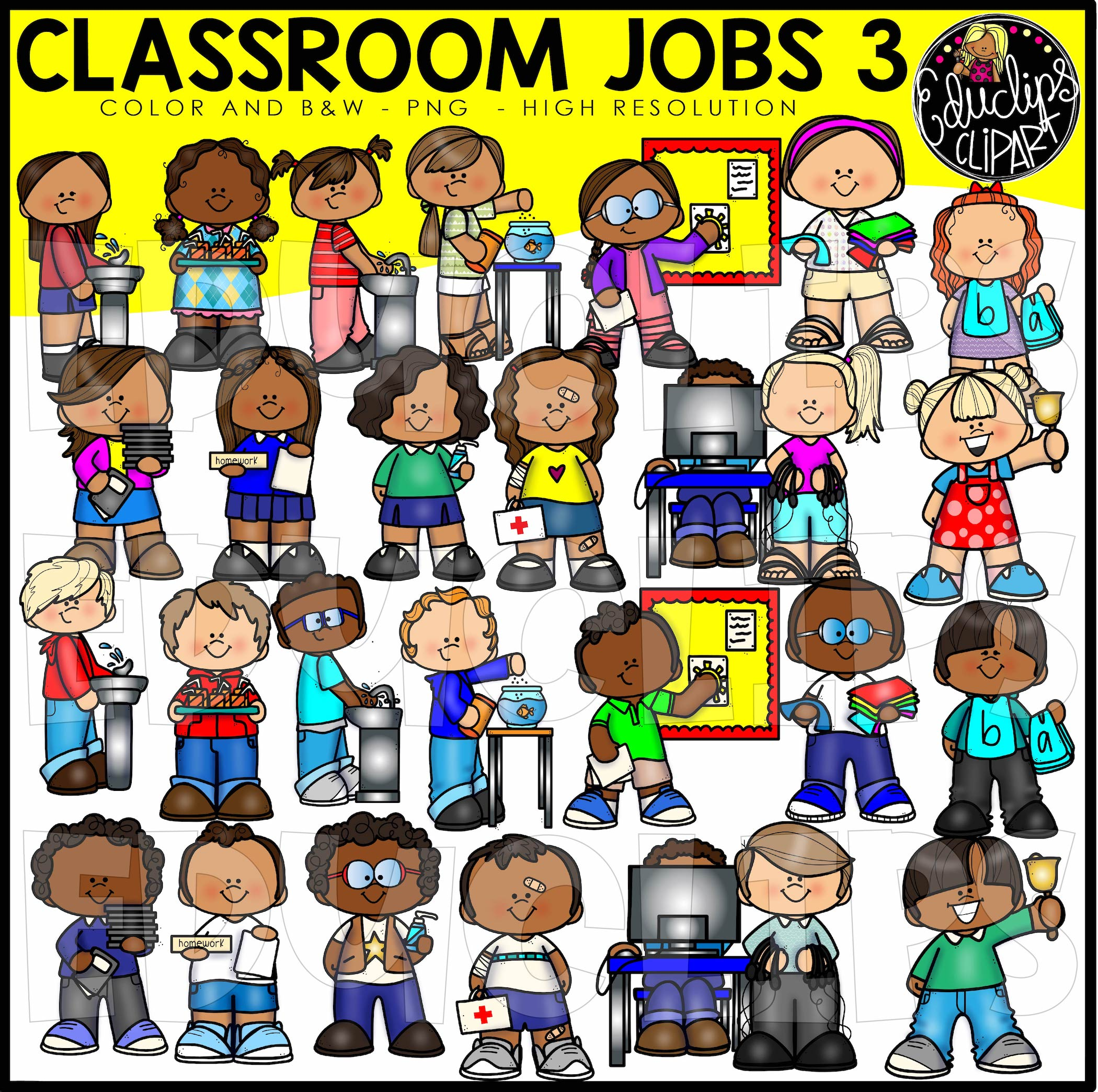 Classroom Jobs 3 Clip Art Bundle (Color and B&W).