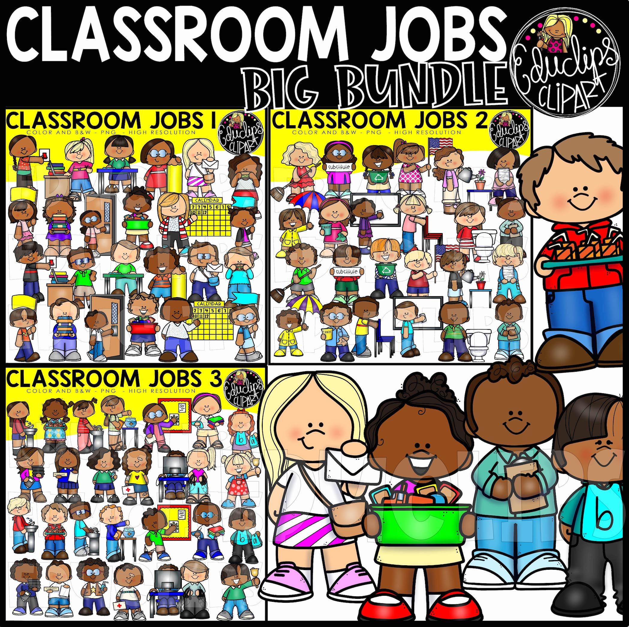 Classroom Jobs Clip Art Big Bundle (Color and B&W).