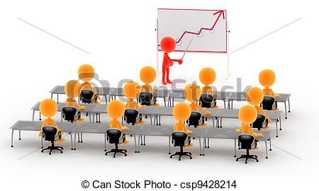 Drawing of Gold 3d men on a lecture, business meeting etc..