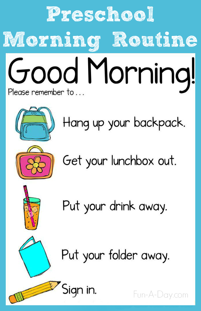 Morning Routine Chart for the Preschool Classroom.