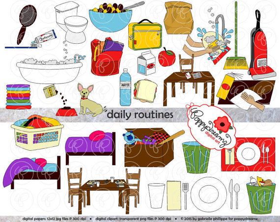 Daily Routines Clipart: 300 dpi transparent png School.