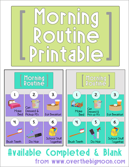 Morning Routine Printable: Back to School Series.