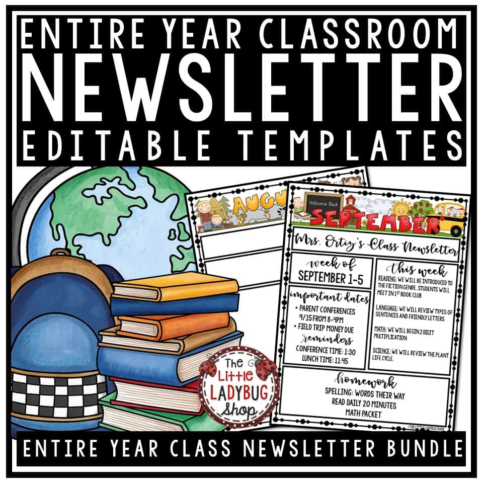 Monthly & Weekly Classroom Newsletter Template Editable.