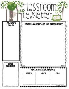 Classroom Newsletter Templates. This would be a great printout for.