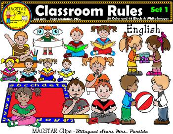 Classroom Rules Clipart Bundle English Clips Bilingual Stars Mrs. Partida.