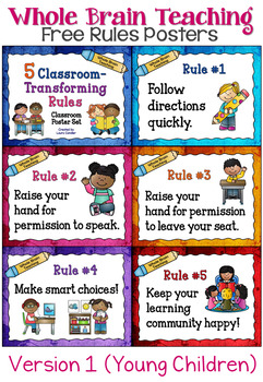 Whole Brain Teaching Classroom Rules Posters (FREE).