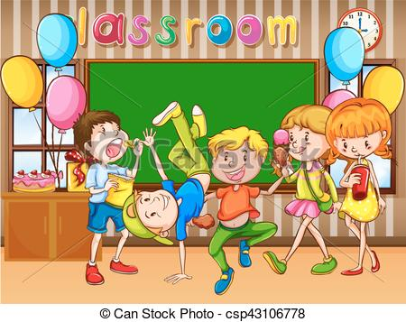 Classroom scene with kids having party.