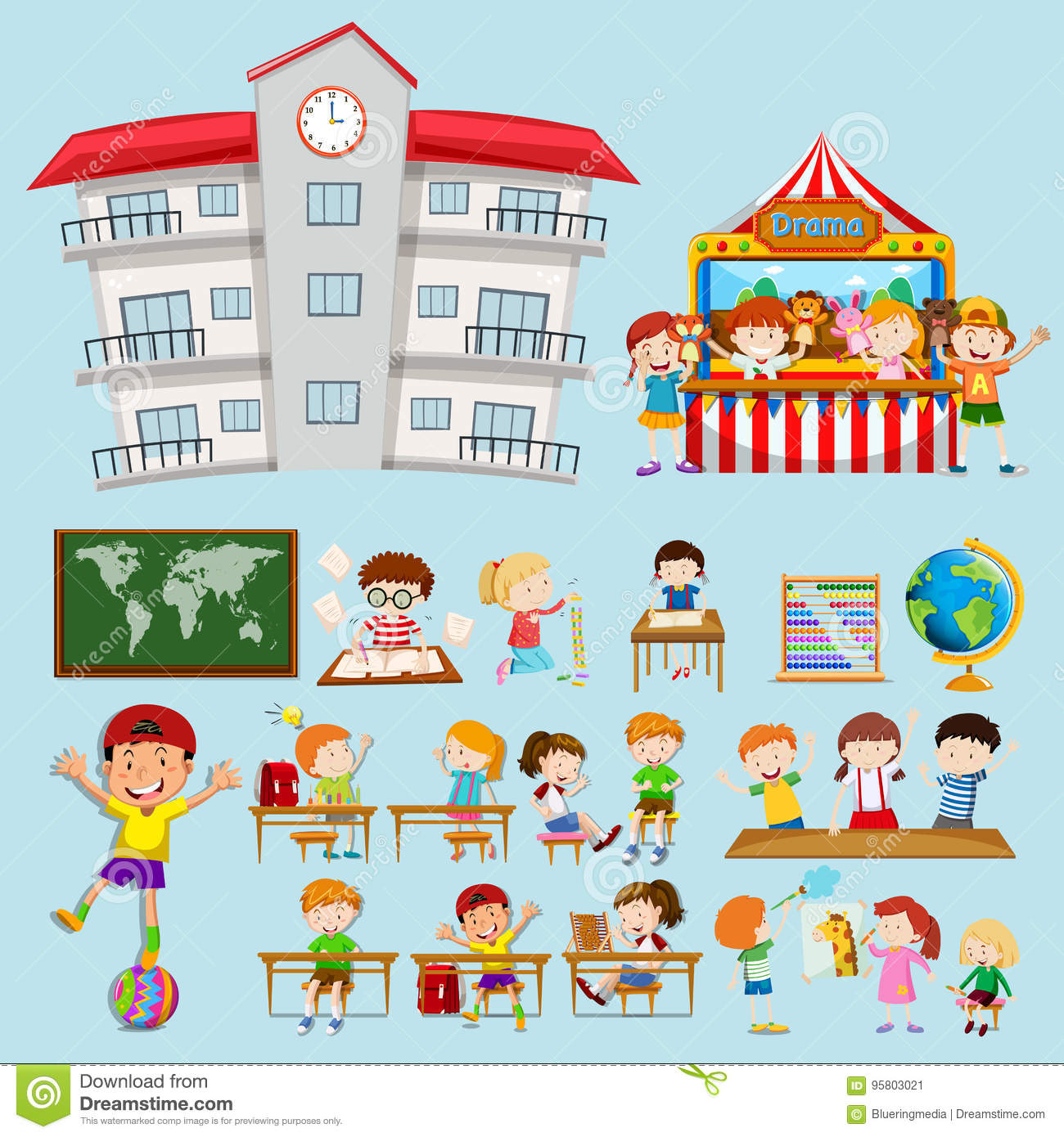 School Scenes With Kids In Classroom Stock Vector.