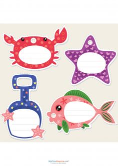 Sea Life Name Tags.