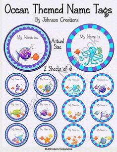 Classroom Sea Animal Name Tag Clipart.