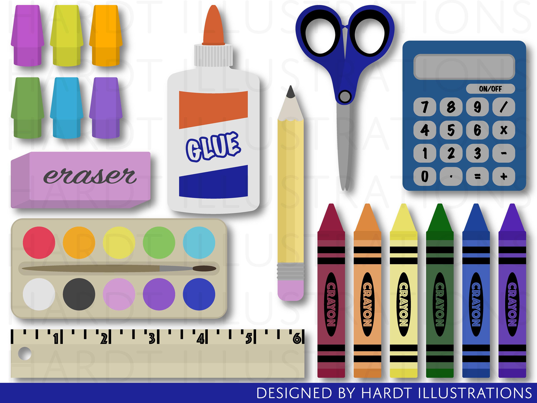 Back to School Clipart, School Supplies Clipart, Crayons Clipart, Classroom  Clipart, Teacher Clipart, School Clip Art, School Graphics.